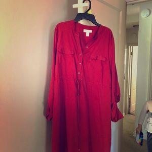 Motherhood maternity red button down dress
